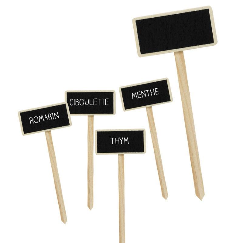 Étiquette de jardin ardoise et bois à planter - Par 5