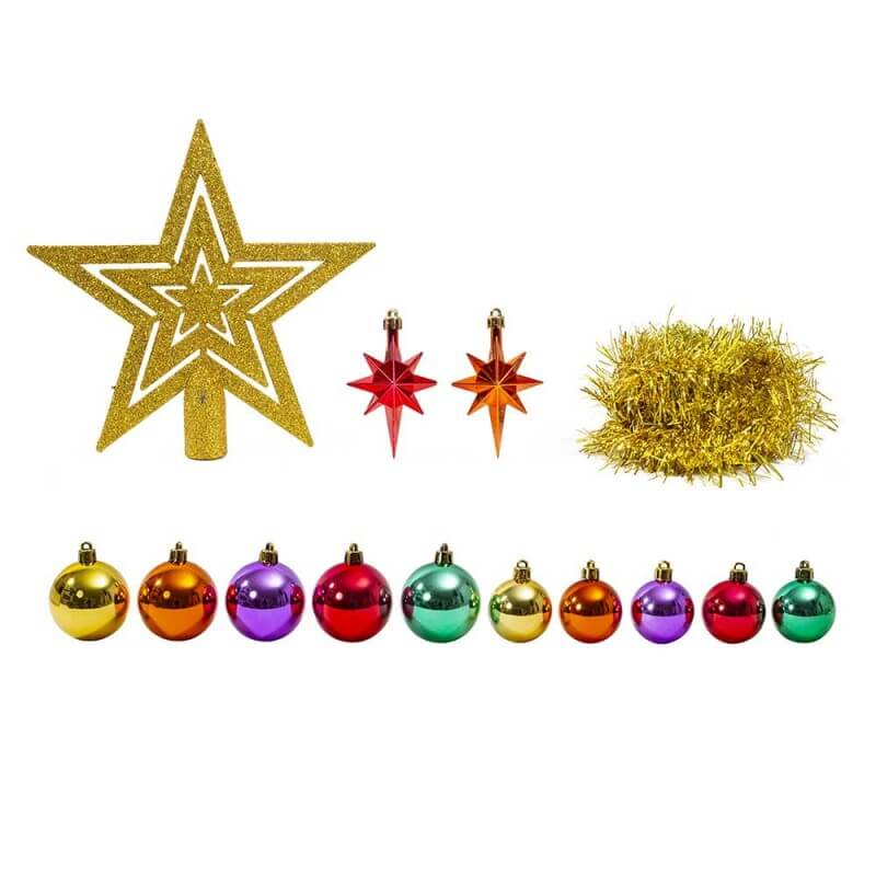 Kit décoration sapin de Noël or, argent ou multicolore