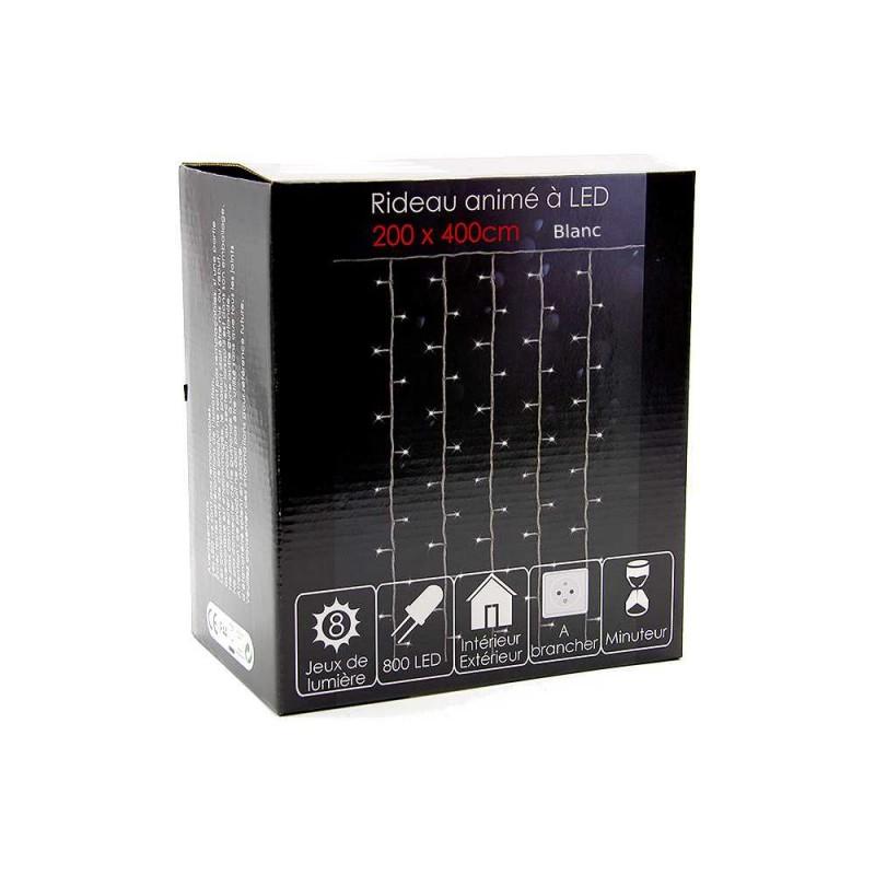 Rideau lumineux à LED électrique 200*400 cm blanc