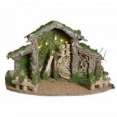 Crèche de Noël lumineuse en bois