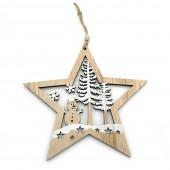 Suspension étoile en bois pour décoration de Noël