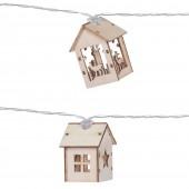Guirlande maisons en bois LED
