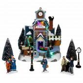 Village de Noël lumineux ville et gare
