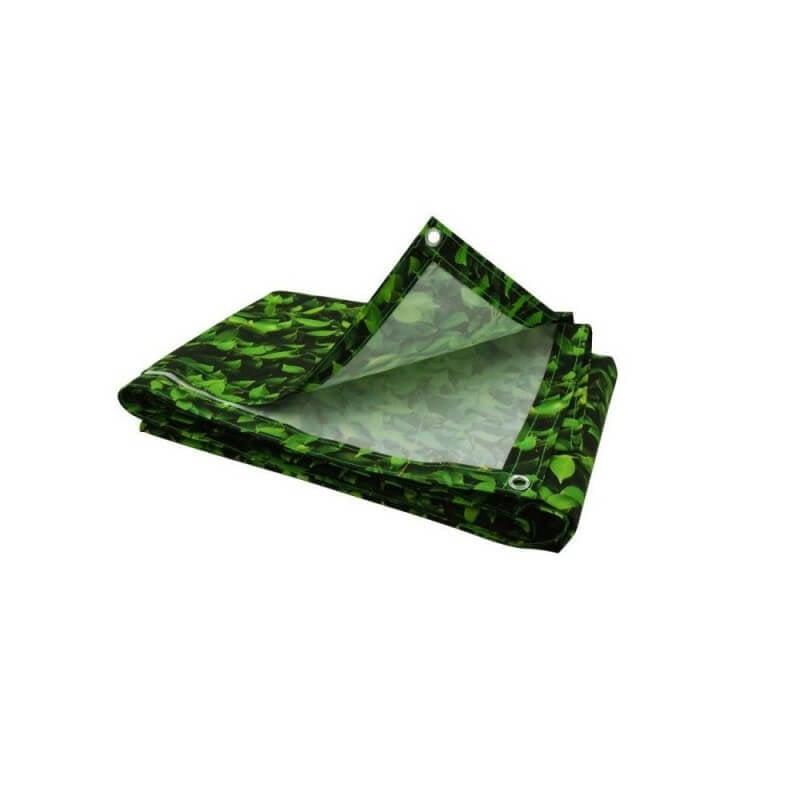 Brise vue imprimé feuillage vert avec oeillets