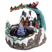 Village de Noël fontaine à eau lumineuse
