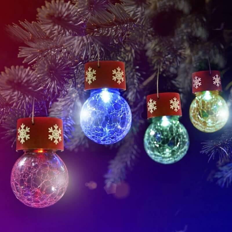 Boules de sapin de Noël solaires lot de 4 (1)