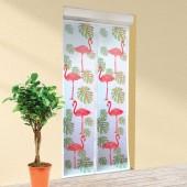 Moustiquaire porte coulissante motif flamant rose