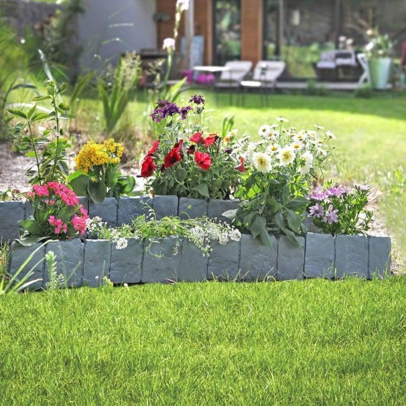 Bordures de jardin imitation pierre - Par 10 (1)