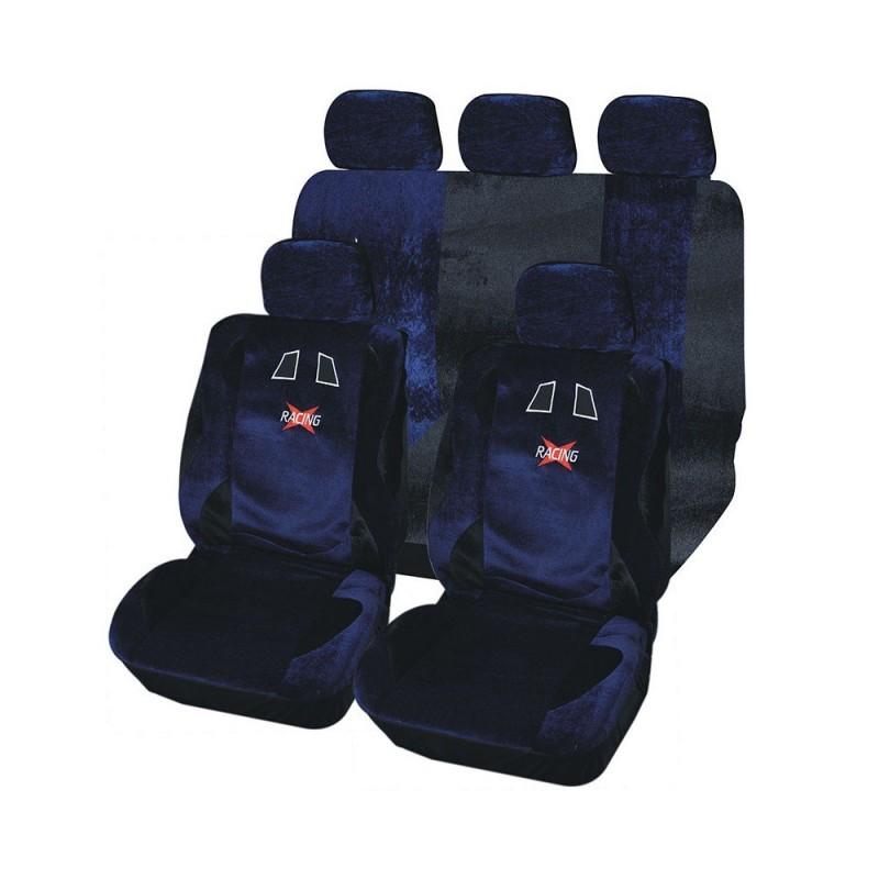 Housse de siège auto Racing Bleu et Noir 9 pièces