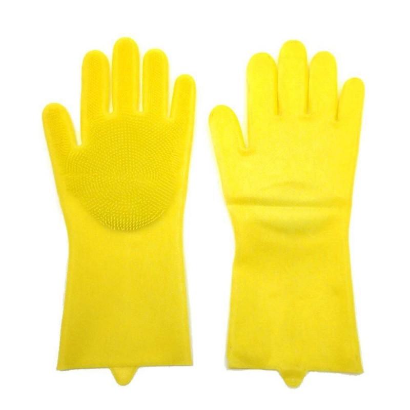 Gants de nettoyage avec éponge silicone intégrée