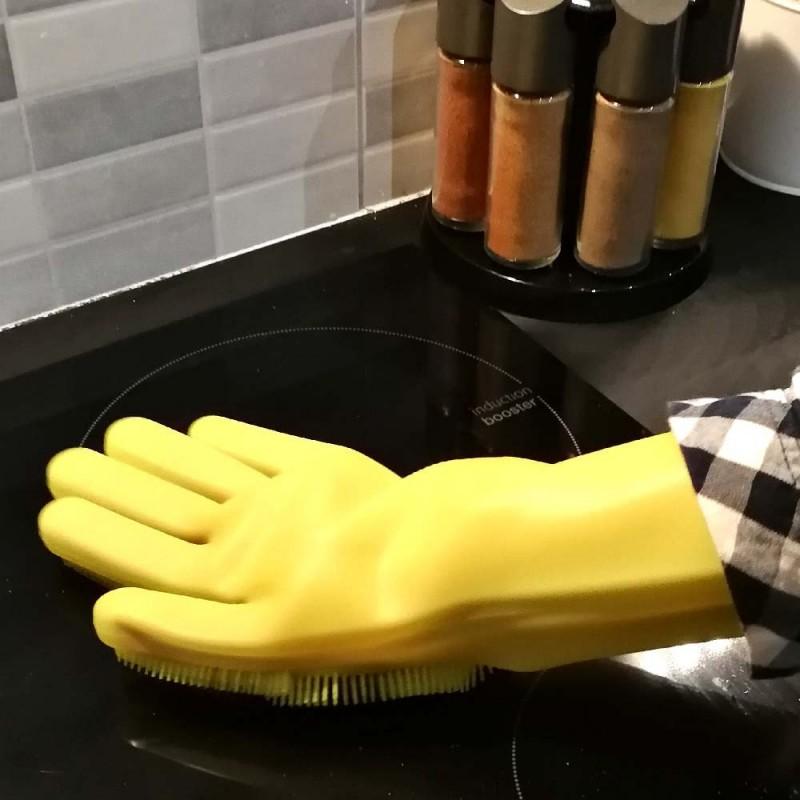 Gants de nettoyage avec éponge silicone intégrée (3)