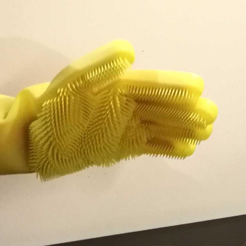 Gants de nettoyage avec éponge silicone intégrée (4)