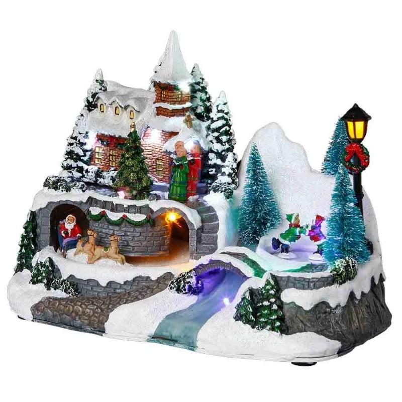 Village de Noël lumineux église avec enfants | Pas cher