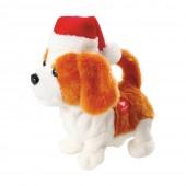 Peluche chien animée avec bonnet de Noël