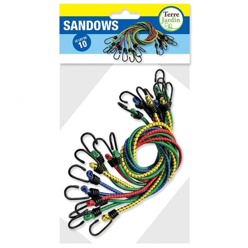 Sandow élastique 80cm avec crochets - Lot de 10 (1)