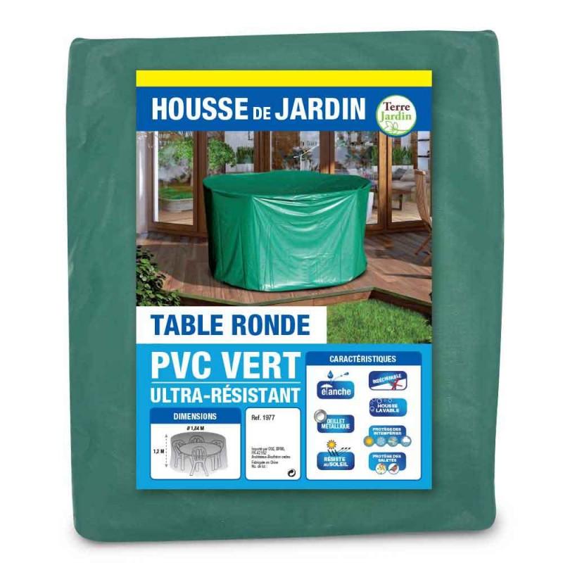 Housse de protection PVC table ronde de jardin - extérieur (1)