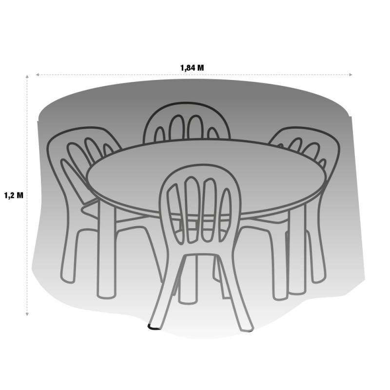 Housse de protection PVC table ronde de jardin - extérieur (3)