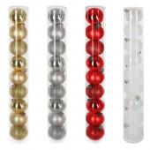 Boules de sapin de Noël or, argent, rouge ou blanc - X9