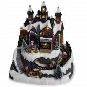 Village de Noël à pile - atelier et train