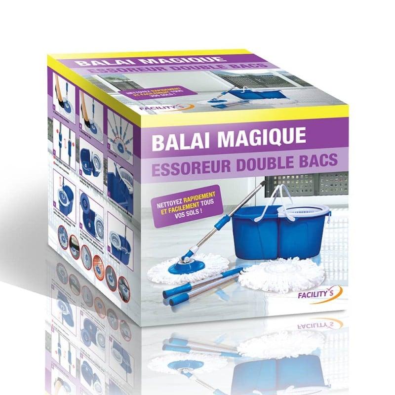 Balai serpillière microfibre avec seau essoreur bleu double bac (1)