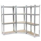 Triple étagère d'angle pour charges lourdes - 4 niveaux