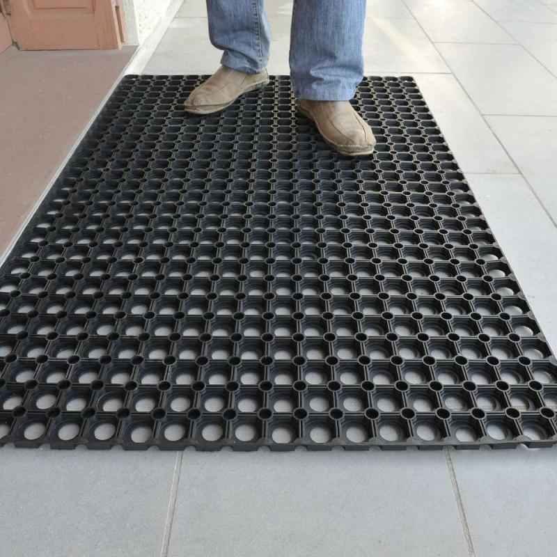 2 tapis caillebotis caoutchouc + connecteurs (4)