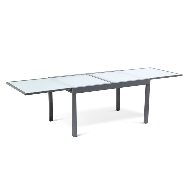 Table de jardin extensible en verre trempé