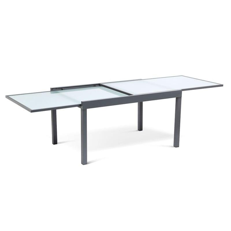Table de jardin extensible en verre trempé (6)