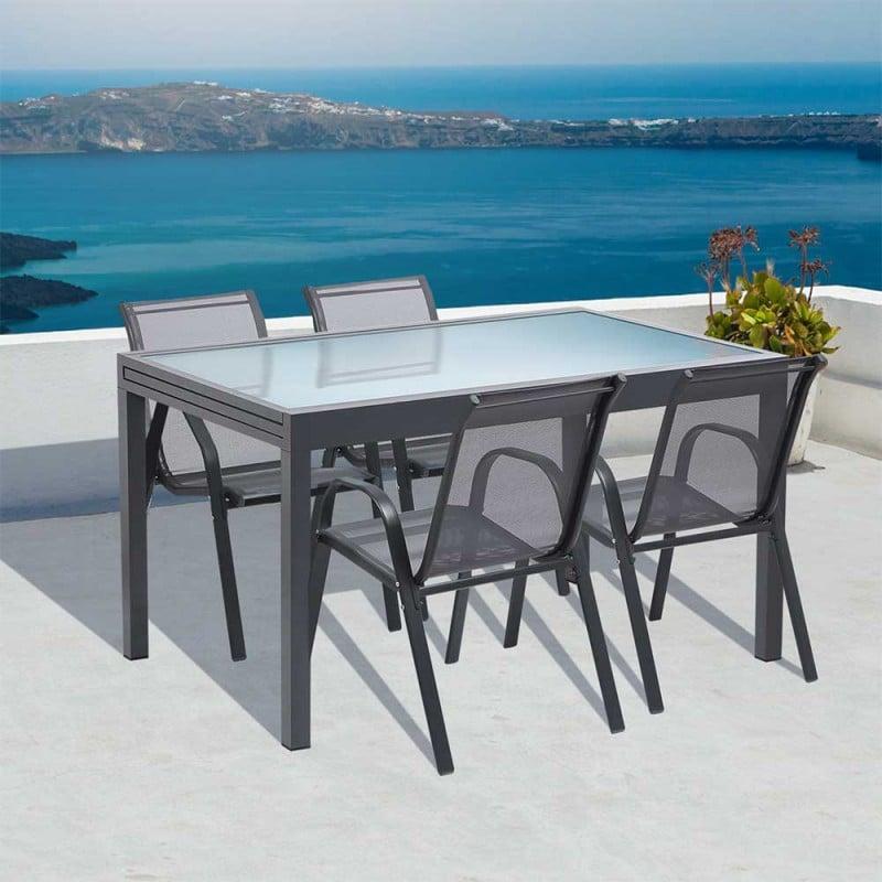 Table de jardin extensible en verre trempé (7)