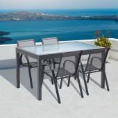 Table de jardin extensible en verre et lot de 4 chaises