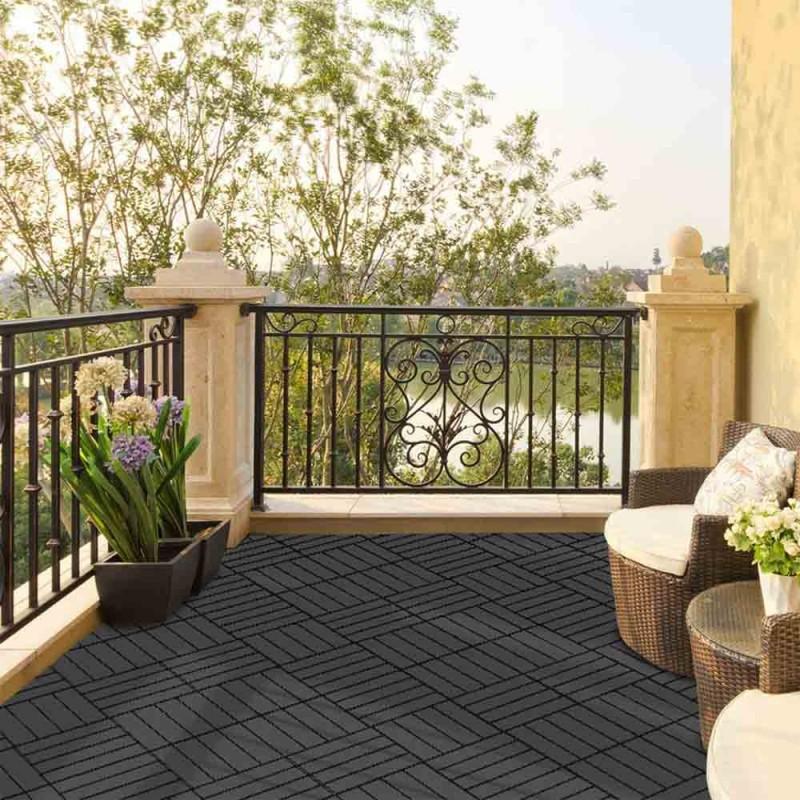 Dalle terrasse clipsable gris foncé - x 4 (5)