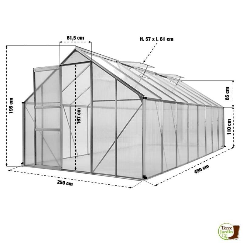 Serre de jardin polycarbonate et aluminium 12m2 (1)