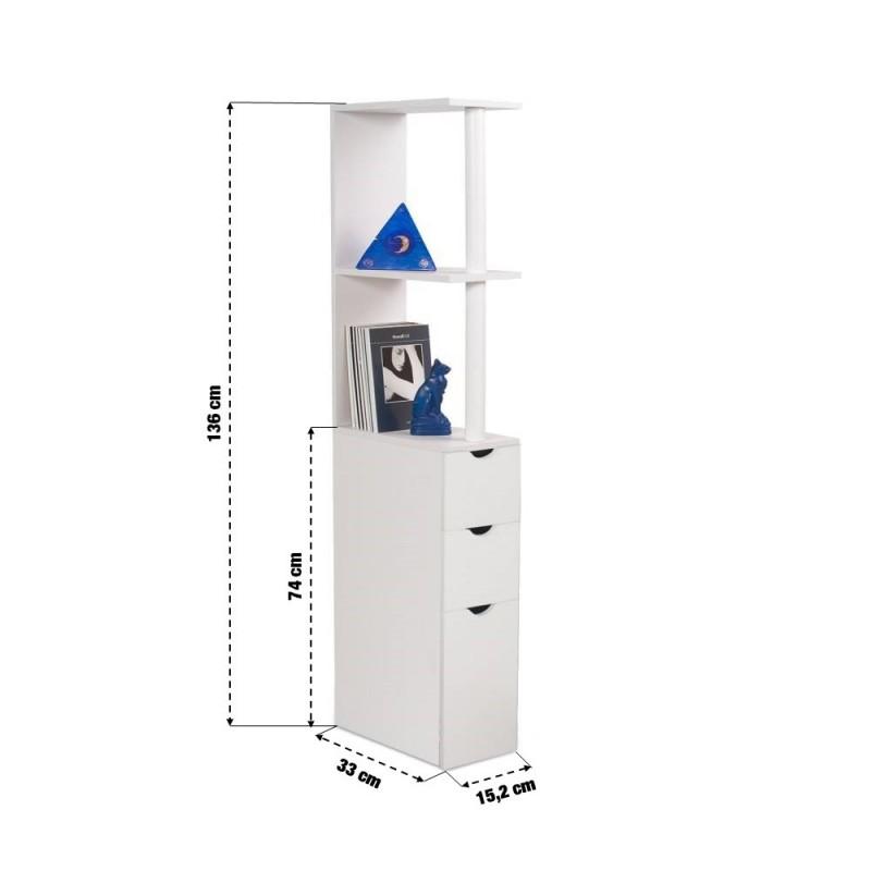 Meuble de rangement WC toilettes ou salle de bains blanc (1)