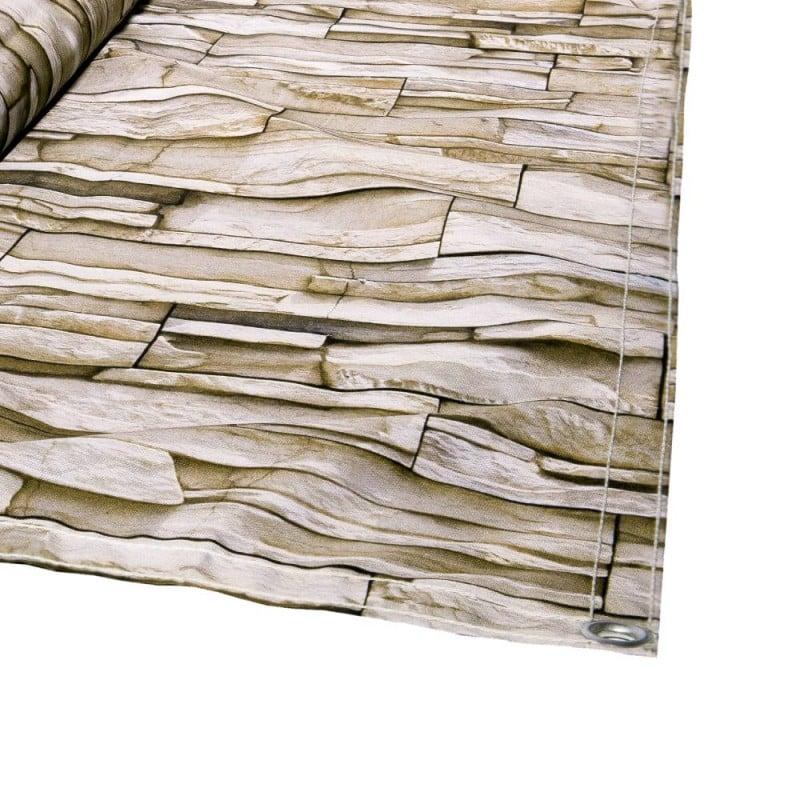 Brise vue beige imitation mur en pierres (1)