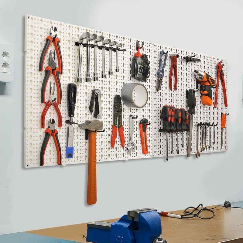Panneaux muraux de rangement pour outils + crochets (6)