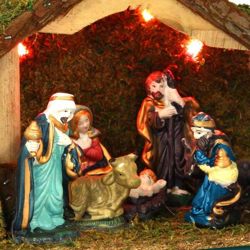 Crèche de Noël complète lumineuse 8 santons (1)