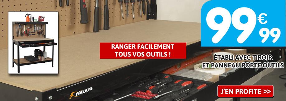 Nouveau : Etabli en acier avec tiroir et panneau porte outils