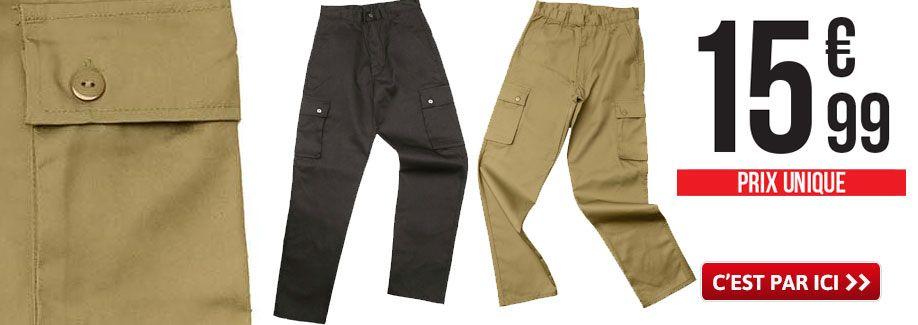 Pantalon de treillis confortable Noir ou Kaki