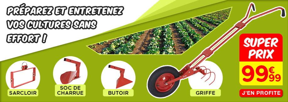 Cultivateur sur roue et ses 4 outils de jardin