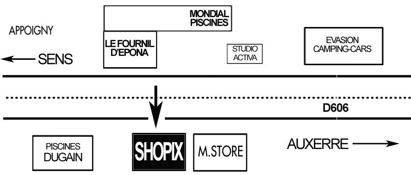 Plan d'accès au magasin Shopix d'Appoigny