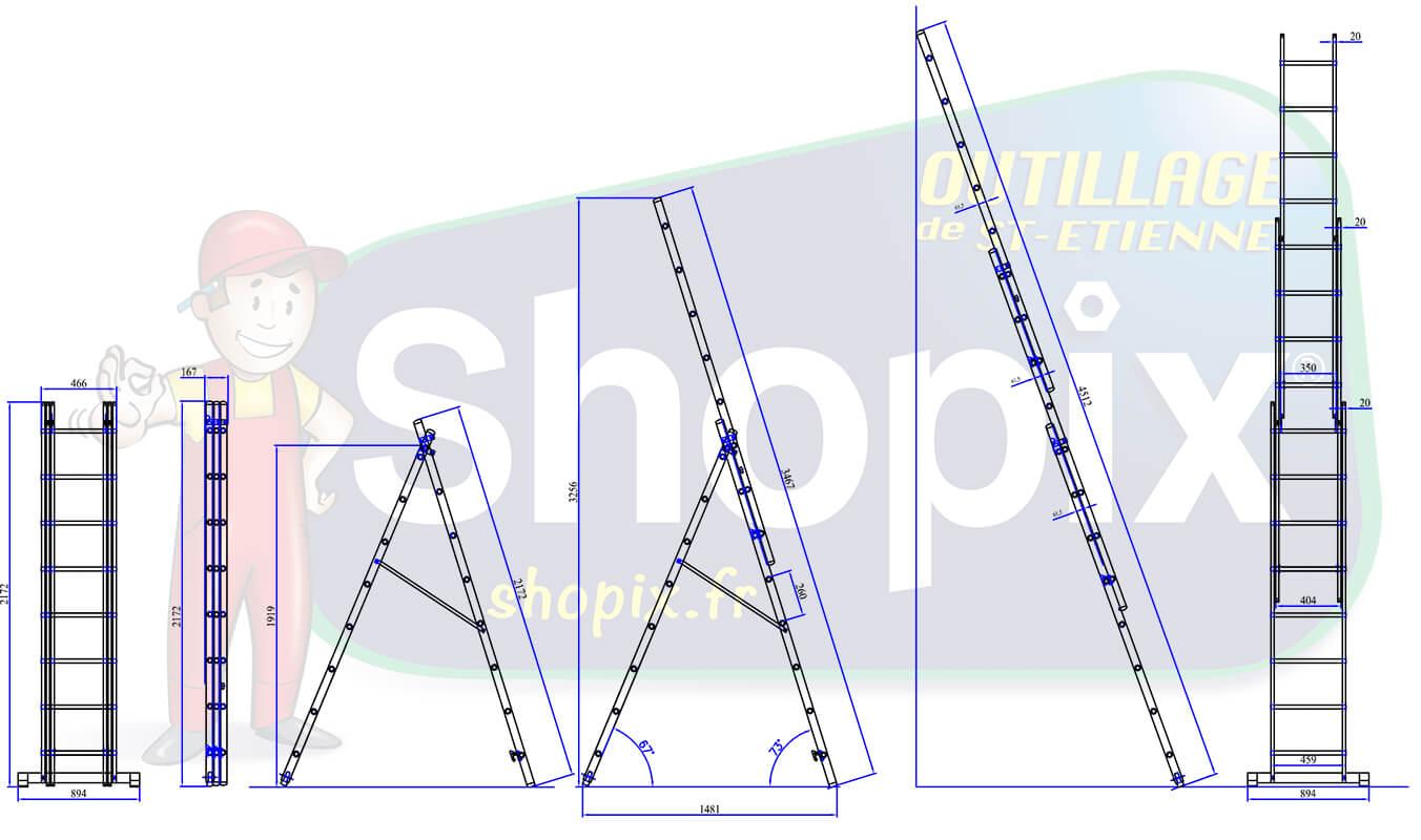 Dimensions échelle à base rapportée 2 plans
